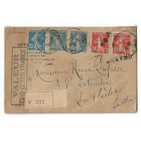 Enveloppe, Pli Chargé, Cachet de Cire 1920 Sté Crédit Indust et Commercial (Ref L4)