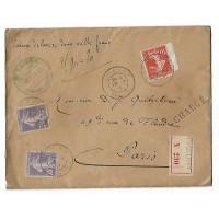Enveloppe, Pli Chargé, Cachet de Cire 1911,  Maitre Baudoin Notaire Chauny Aisne  (Ref L8)