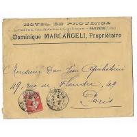 Enveloppe, Pli Chargé, Cachet de Cire 1912, Hotel de Provence D.Marcangeli, Sartene Corse (Ref L9)
