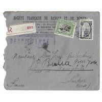 Enveloppe, Pli Chargé, Cachet de Cire, Belgique, Société Française de Banque et de Dépot 1920, (Ref L11)