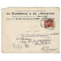 """Enveloppe 1915, Société de Secours Mutuels du """"Franc au décés"""" (Ref L28)"""