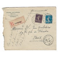 Enveloppe Lettre Recommandée 1922, André Voituriez Notaire Cambrai (Ref L34)