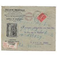 Enveloppe Lettre de 1925, Société Générale Agence de Marseille (Ref L41)