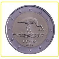"""2 €uros Lettonie 2015 """"Cigogne"""" (UNC Sortie de Rouleau)"""