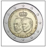 """2 €uros Luxembourg 2014 """"50eme Anniversaire"""" (UNC sortie de Rouleau)"""