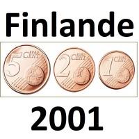 Série Finlande - 1/2/5 Centimes - 2001 UNC sorties de Rouleaux