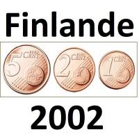 Série Finlande - 1/2/5 Centimes - 2002 UNC sorties de Rouleaux