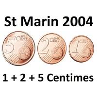 1+ 2 + 5 Centimes Euro St Marin 2004 - Neuve Sortie de Rouleau