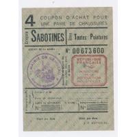 Carte de Rationnement 1946 - Coupon d'achat pour une paire de Chaussures