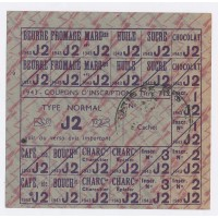 Carte de Rationnement 1946 - Coupon d'inscription - Type Normal ''J2''