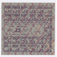 Carte de Rationnement 1943 - Coupon d'inscription - Type Normal ''J3''