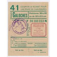 Carte de Rationnement - Coupon d'achat de Chaussures ''Galoches''