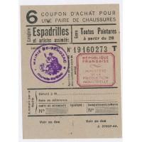 Carte de Rationnement - Coupon d'achat pour chaussures ''Espadrilles''