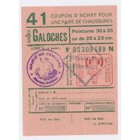 Carte de Rationnement - Coupon d'achat pour chaussures ''Galoches''
