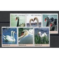 Lot de 6 Timbres Thématique d'Angola sur les Oiseaux, les Cygnes - Neuf sans Charnière