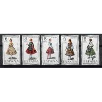 Lot de 5 Timbres d'Espagne - Thématique sur les Costumes, Danses - Neuf sans Charnière