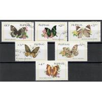 Lot de 6 Timbres des Philippines - Thématique sur les Papillions - Oblitéré