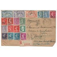 France ancienne enveloppe 1927 - Numéros 123, 145, 202, 206 et autres - Oblitéré