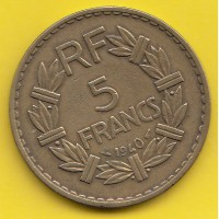 5 Francs Lavrillier 1940 - Bronze/alu