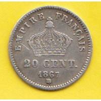 20 Centimes Napoléon III 1867BB