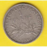 1 Franc Semeuse Argent 1898