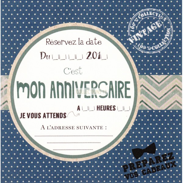 Mon Anniversaire - Carte d'invitation***