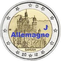 """2 €uros Allemagne 2012 """"J"""" (UNC Sortie de Rouleau)"""