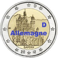 """2 €uros Allemagne 2012 """"D"""" (UNC Sortie de Rouleau)"""