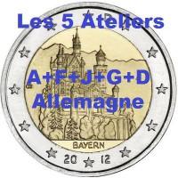 """2 €uros Allemagne 2012 """"A+F+G+J+D"""" (les 5 ateliers) (UNC Sortie de Rouleau)"""