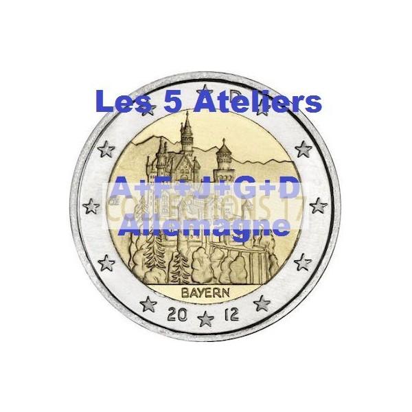 """2 €uros Allemagne 2012 """"A+F+G+J+D"""" (les 5 ateliers)"""