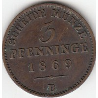 Allemagne - Prusse 3 Pfenninge 1869 B