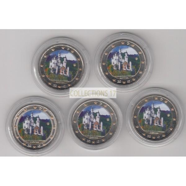 2 Euros Allemagne 2012 - A-F-G-J-D -  Colorisés
