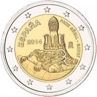 2 €uros Espagne 2014 (UNC Sortie de Rouleau)