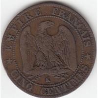 5 Centimes Napoléon III 1854K chien