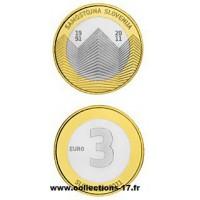 3€ €uros Slovénie 2011 UNC Sortie de Rouleau