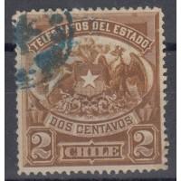 Chili - numéro 1 Télégraphe - Oblitéré