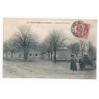 CPA - (79) Saint Hilaire la Palud - Attelage et Groupe Scolaire (10 cts rouge)