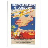 Carte Lignes Aériennes France Espagne Maroc - Collection Musée Air France