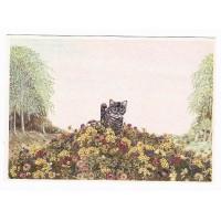 Carte Matouvu Chat dans les fleurs - Christel Le Vaillant