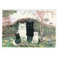 Carte Ballade Champetre Chats Blanc et chats Noirs - Christel Le Vaillant