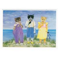 Carte Trois Chats au bord de mer - Christel Le Vaillant
