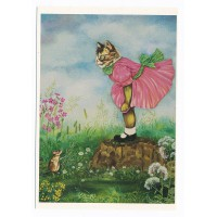Carte Chat en robe rose - Christel Le Vaillant