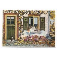 Carte Chats devant la maison - Christel Le Vaillant