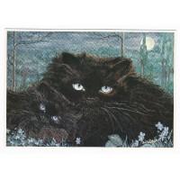Carte Deux chats noirs - Christel Le Vaillant