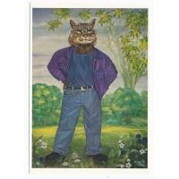 Carte Chat en jean veste violette - Christel Le Vaillant