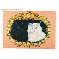 Carte Deux chats noir et blanc - Christel Le Vaillant