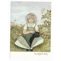 Carte Petite fille et son Chat - Christel Le Vaillant