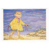 Carte Chat marchant sur la plage - Christel Le Vaillant
