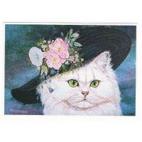 Carte Chat avec un chapeau à fleurs - Christel Le Vaillant
