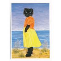 Carte Chat noir sur la plage - Christel Le Vaillant
